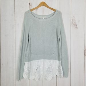 Cato Gray Ramie Cotton Sweater Lace Hem - XL